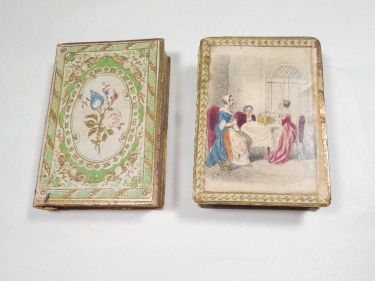 2 circa 1810 Lady's Paper Trinket Boxes Nice