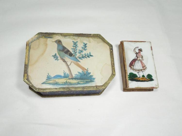 2 c. 1810 Lady's Paper Trinket Boxes Inc. Glass