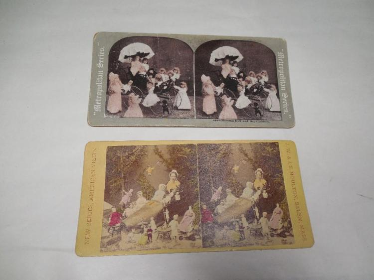 2 Early Stereoview Card Photos w/Dolls