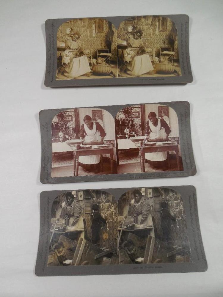Three Black Americana Stereoview Card Photos