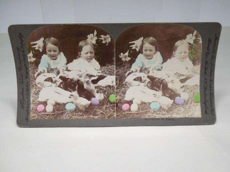 Unusual Tinted Easter Stereoview Card Photo