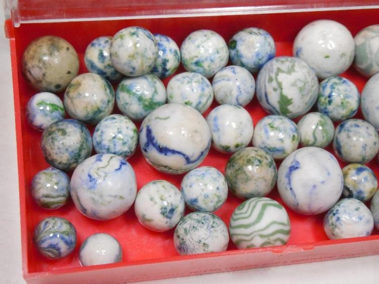 Lot of China Marbles White, Blue Green etc