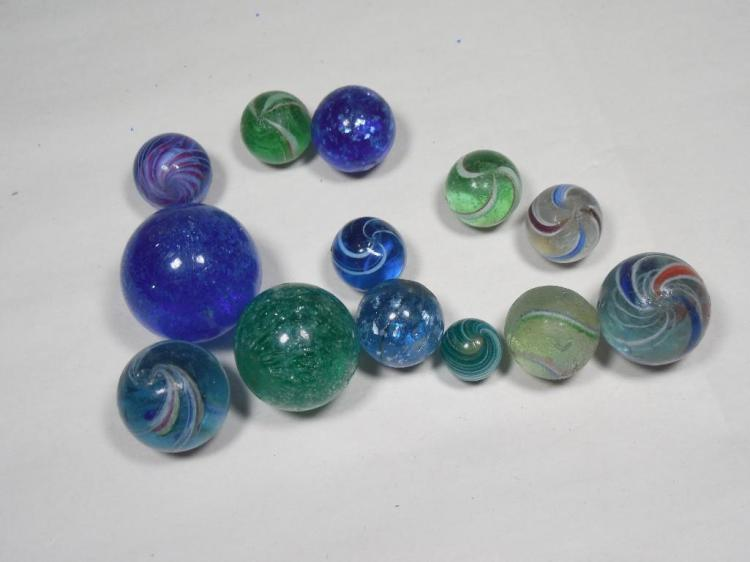 Group Lot Antique German Mica, Swirl Marbles