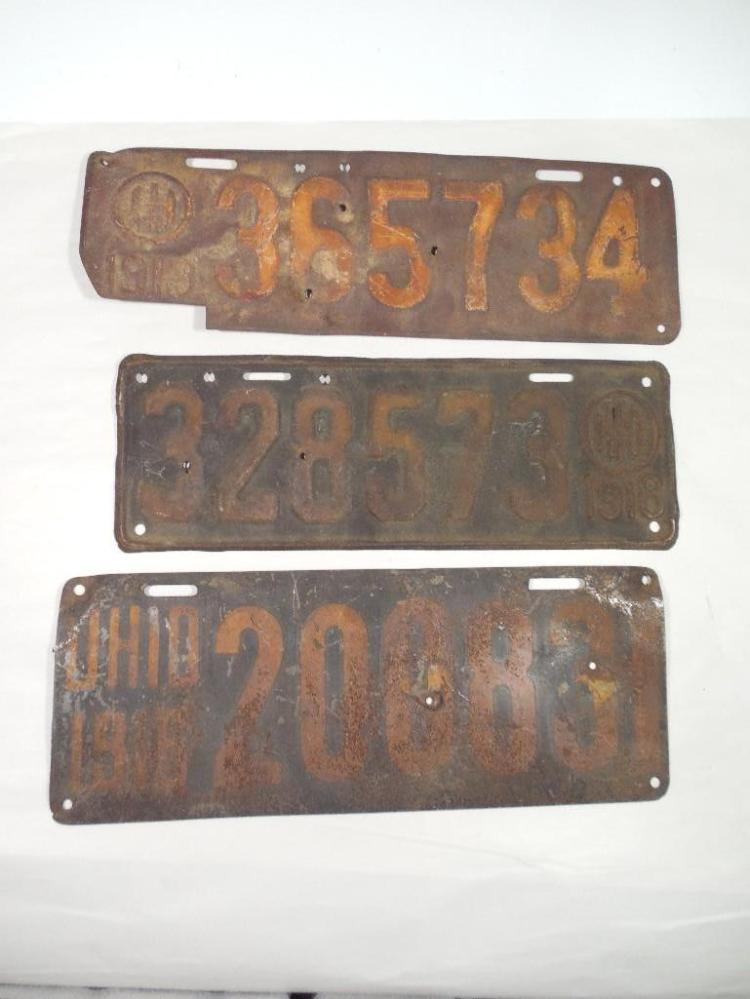 Group Lot of 3 Early Ohio License Plates