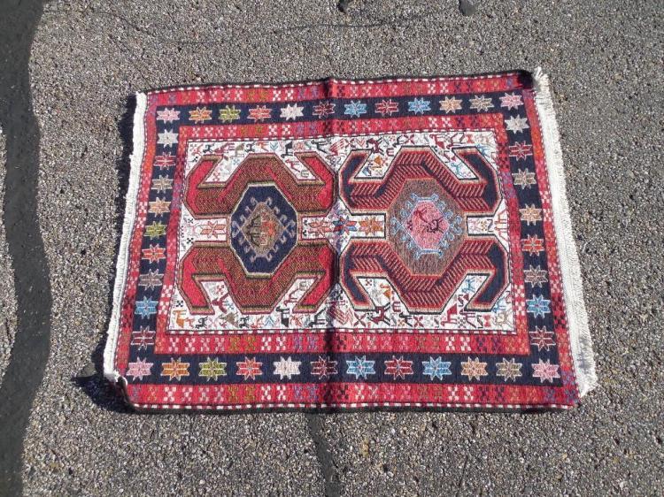 Vintage Hand Knotted Persian Carpet Prayer Rug