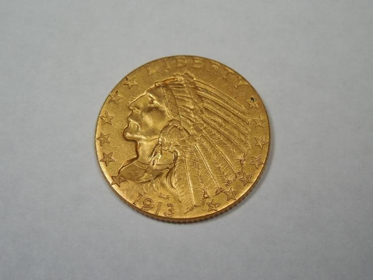 Nice 1913 $5 Gold Indian Head Coin