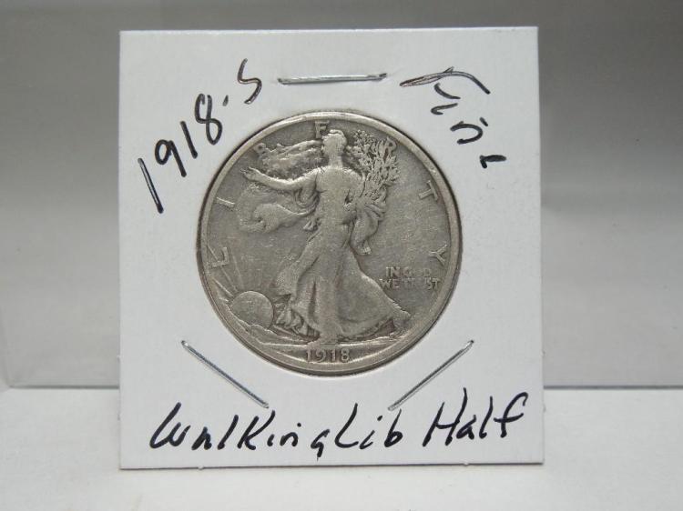 1918-S Silver Walking Liberty Half Dollar Coin