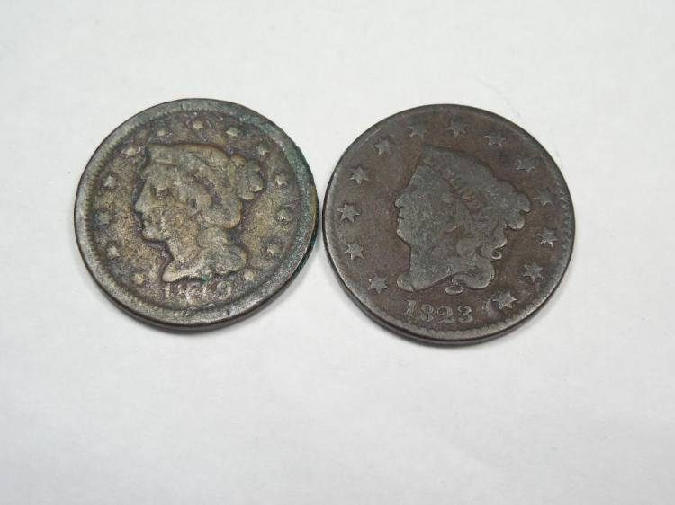 2 Early Large Cent Coins 1823 and 1849