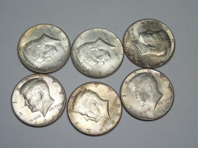 Group Lot 6 1964 Silver Kennedy Half Dollar Coins