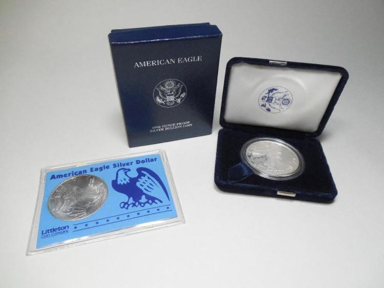 2 US Silver Dollar Coins Inc. Eagle