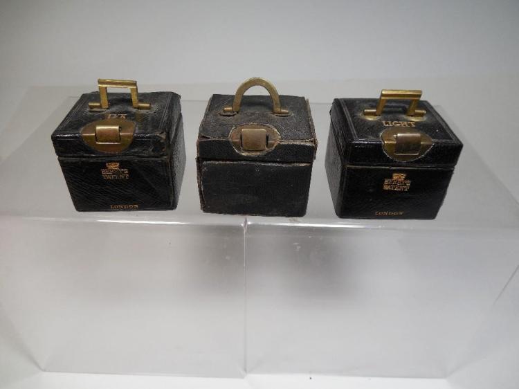 3 Antique Travelling Inkwells - Suitcase Designs
