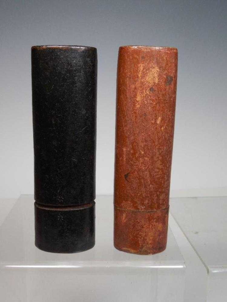 2 Antique Travelling Inkwells - Very Early
