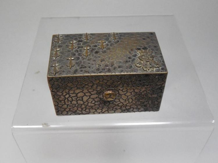 Antique Travelling Inkwell Fancy Metal Case/Box