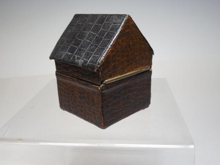 Rare Antique Travelling Inkwell House Shape