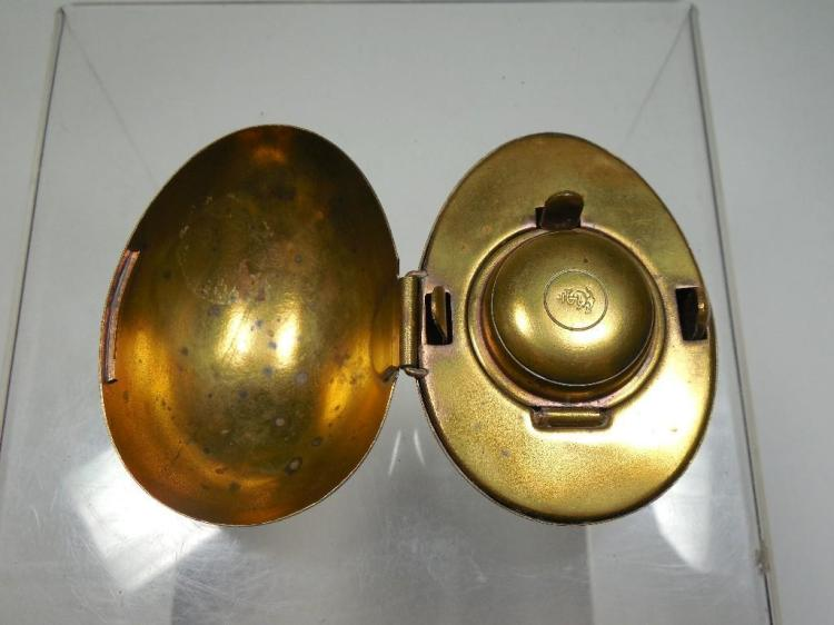 Rare Antique Egg Form Travelling Inkwell - Brass
