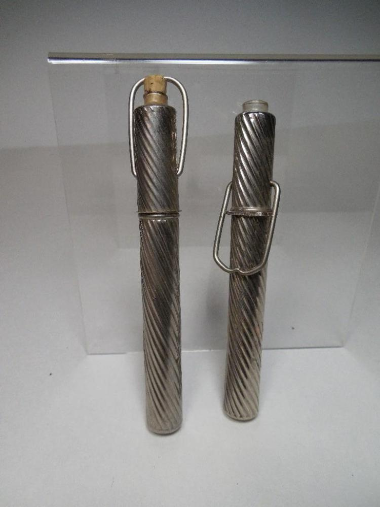 Two Antique Metal Travelling Inkwells