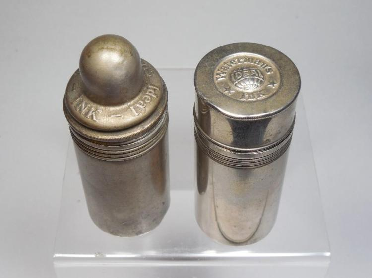 2 Antique Ideal Waterman's Travelling Inkwells