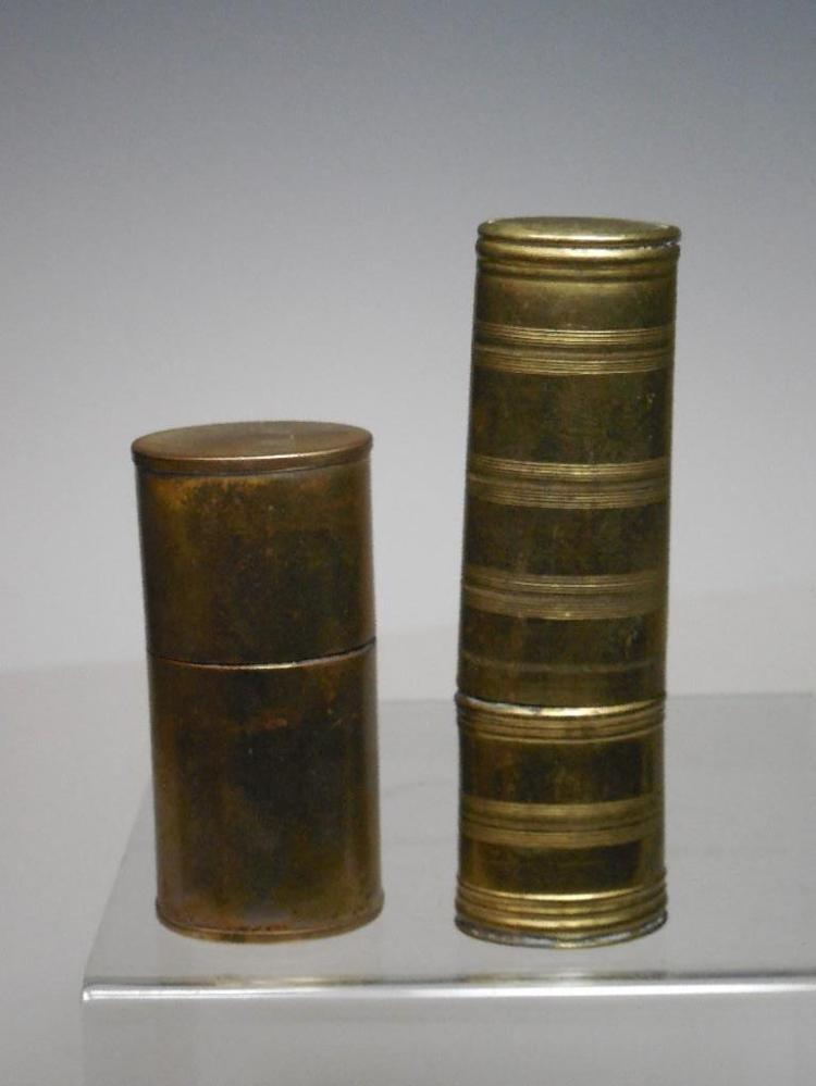 2 Very Early Brass Travelling Inkwells