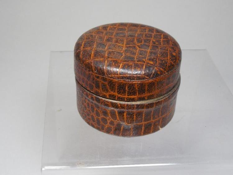 Antique Snake/Alligator Skin Travelling Inkwell