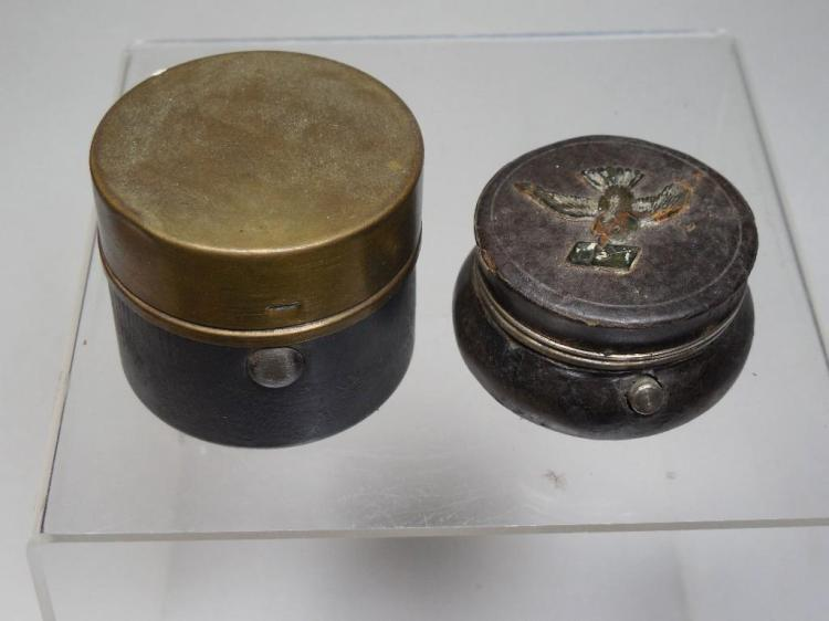 2 Early Travelling Inkwells Inc. Bird w/Letter