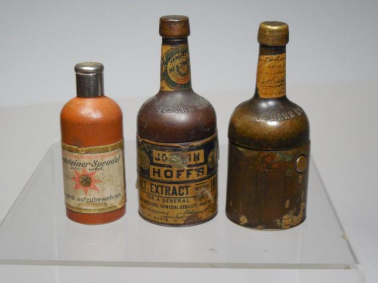 3 Antique Travelling Inkwells - Bottles