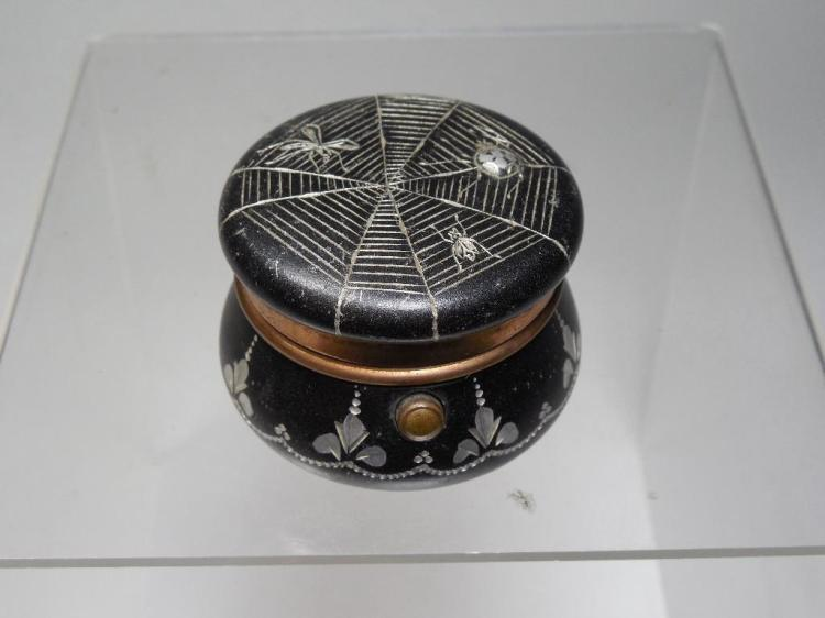 Rare Travelling Inkwell w/Spider Web, Bugs Design