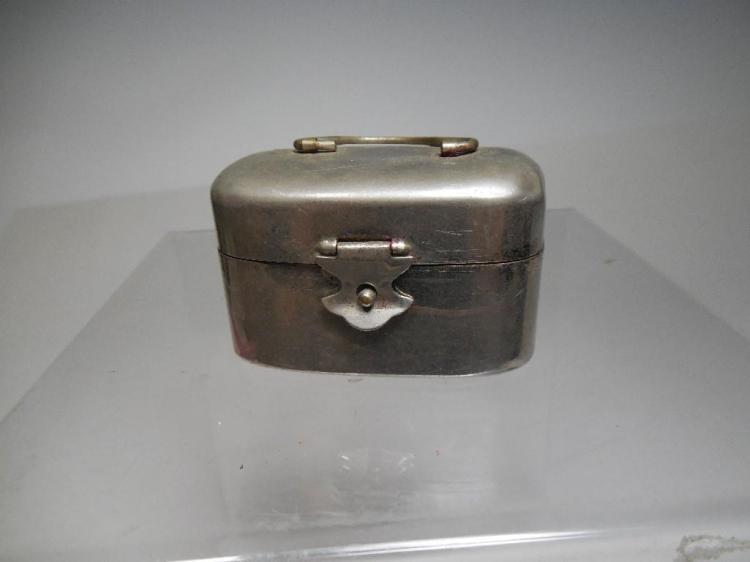 Antique Metal Lunch Box Style Travelling Inkwell