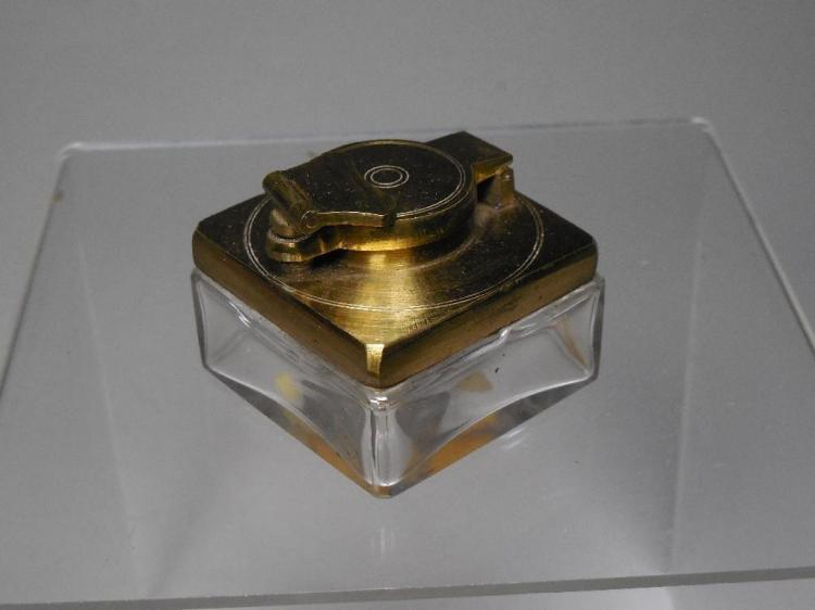 Fine Antique Brass and Glass Travelling Inkwell
