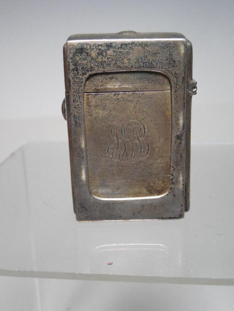 Antique Sterling Silver Travelling Inkwell in Case