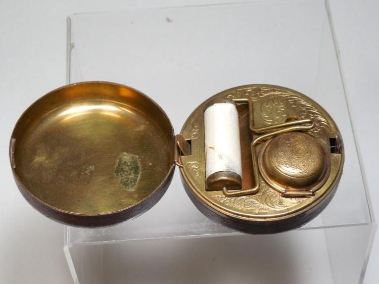 Fine Early Travelling Inkwell Set in Leather Case