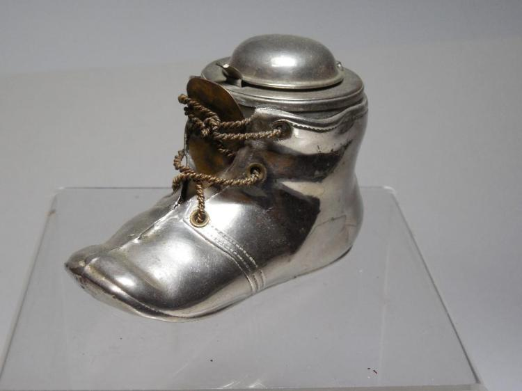 Rare Antique Travelling Inkwell Boot Shaped