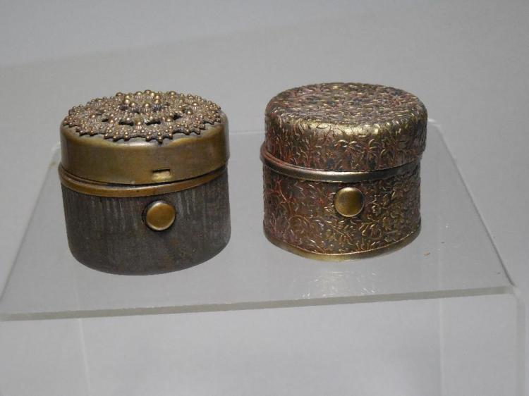 2 Antique Fancy Metal Travelling Inkwells