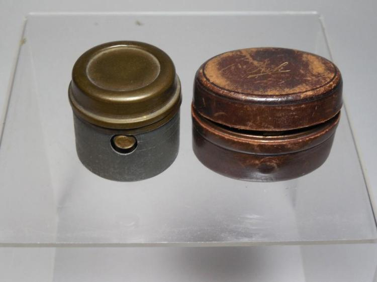 2 Antique Travelling Inkwells Inc. Leather Case