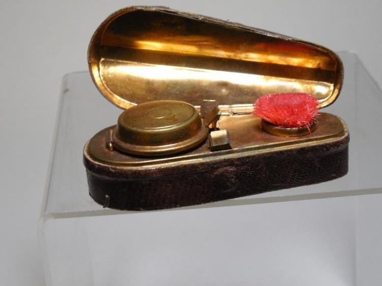 Antique Violin Case Travelling Inkwell w/Brush