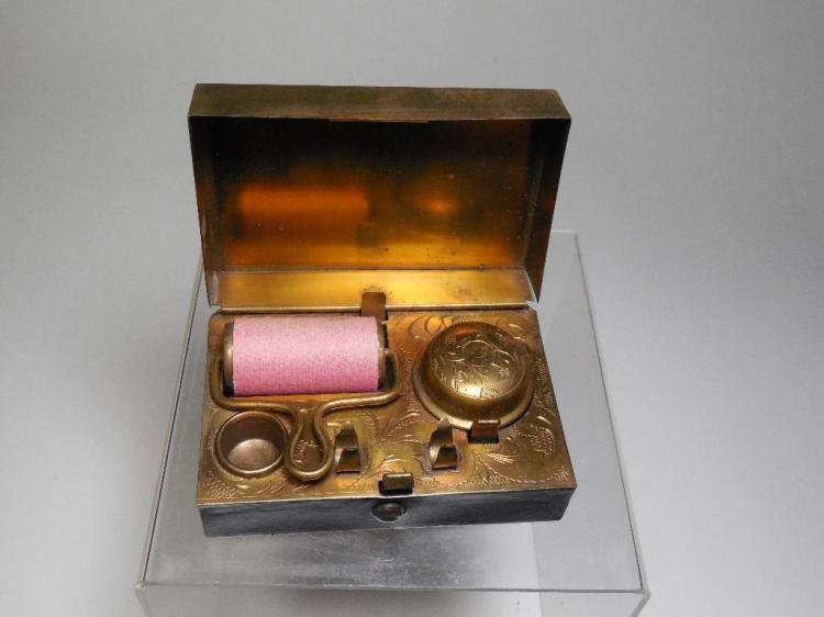 19th C. Antique Travelling Inkwell Set in Case