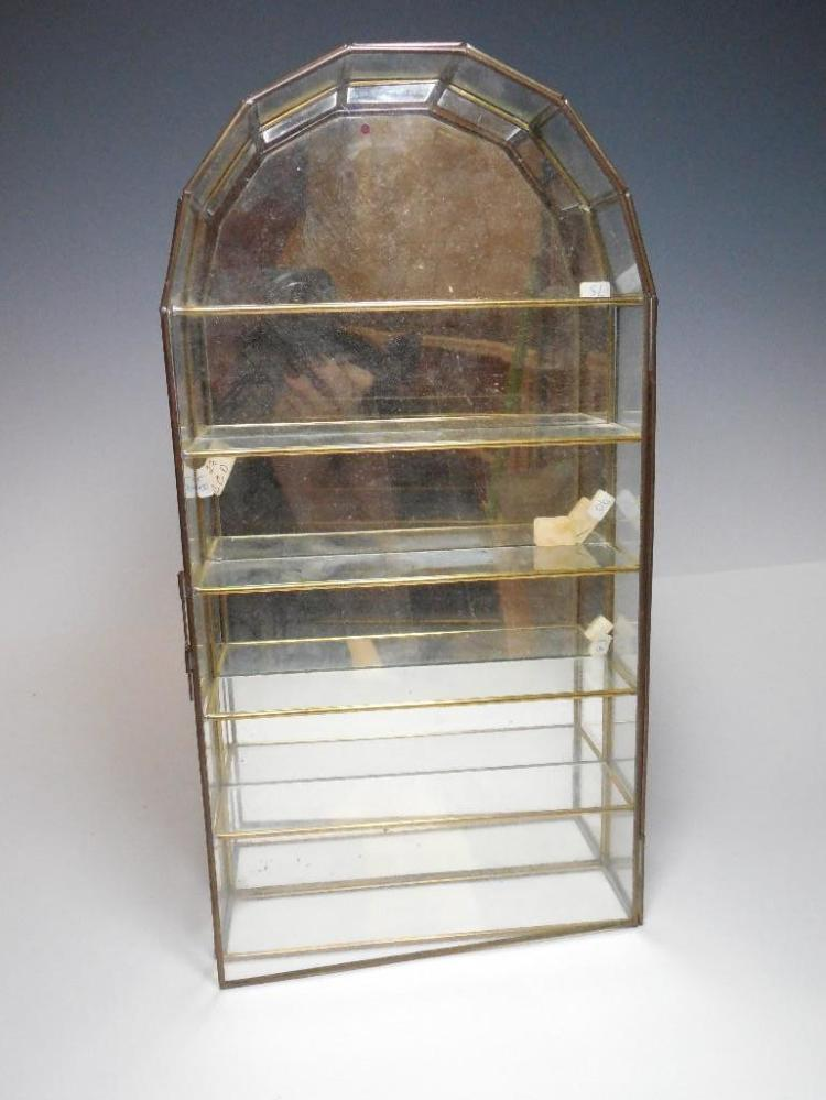 Glass and Metal Mirrored Display Case