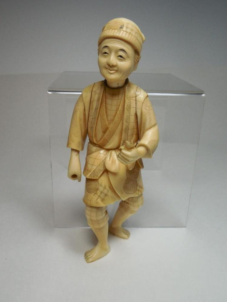 Antique Japanese Carved Ivory Man Figure