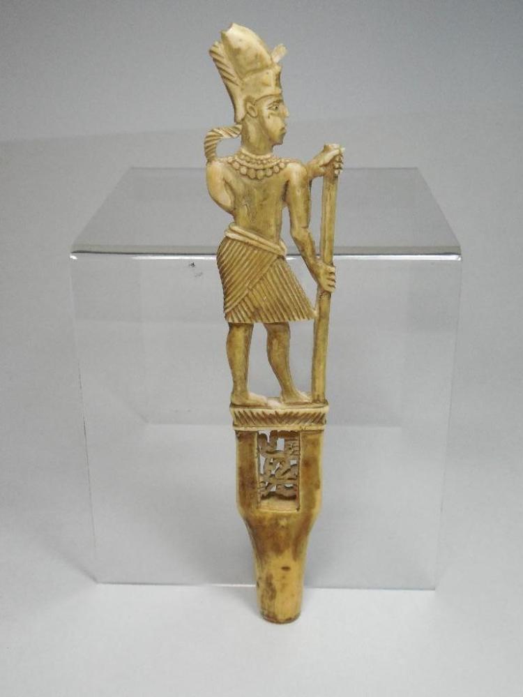 Antique Carved Bone Ceremonial Handle - India