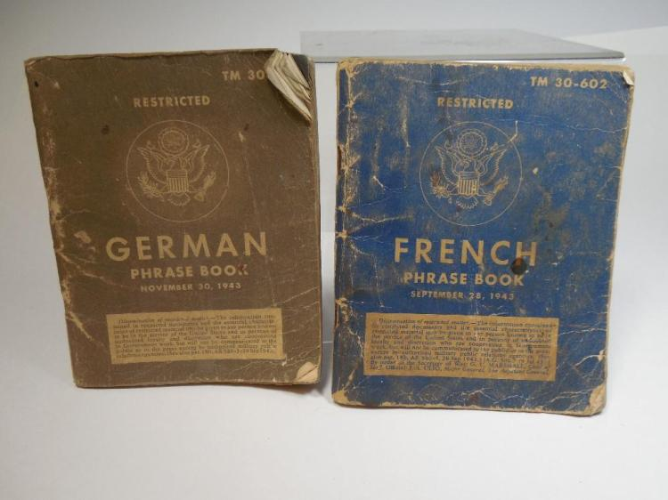 2 WWII German French Translation Books Military