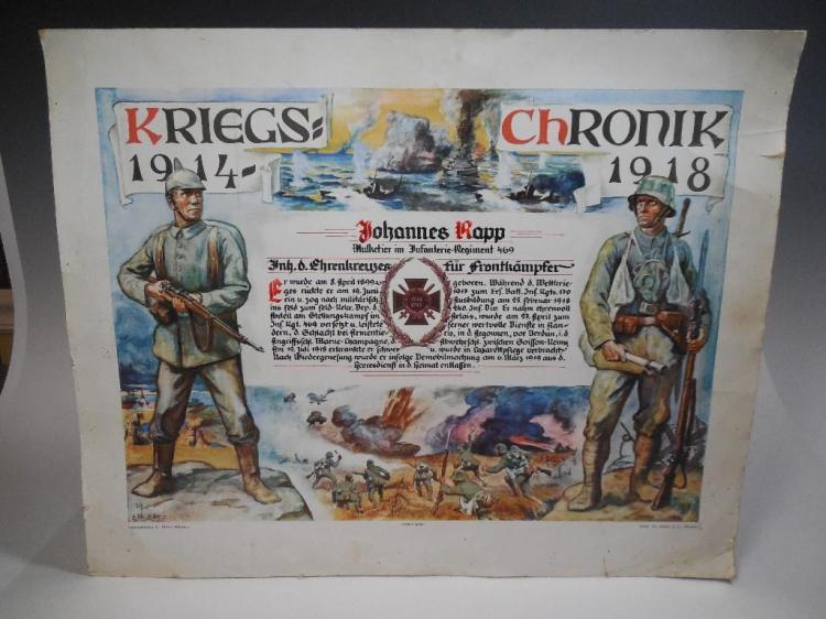 WWI German Personalized Service Certificate