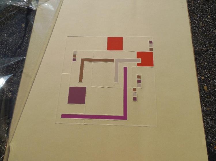 Signed Art Deco Painting, w/Pressed Paper design