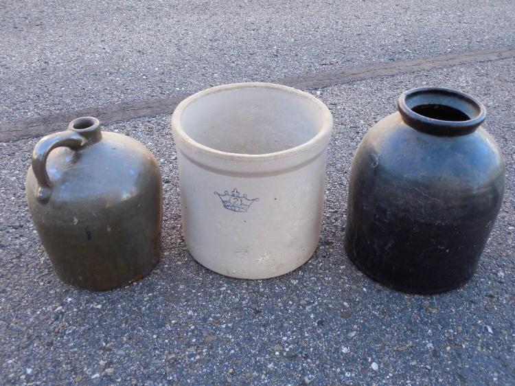 3 Antique Stoneware Crocks/Containers