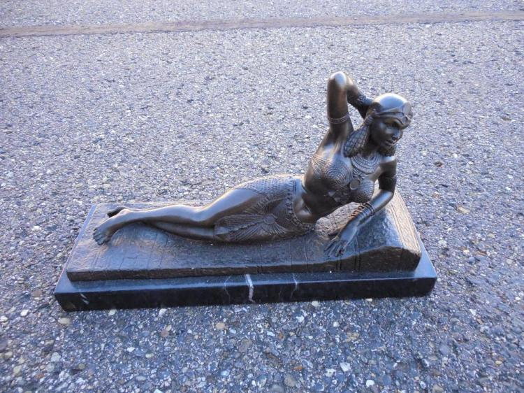 Vintage Cast Metal Statue of a Lady on Marble Base