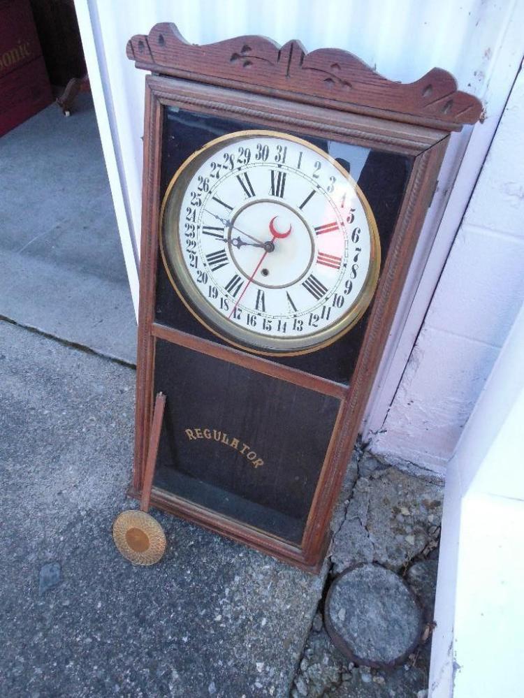 Antique Large Calendar Regulator Clock