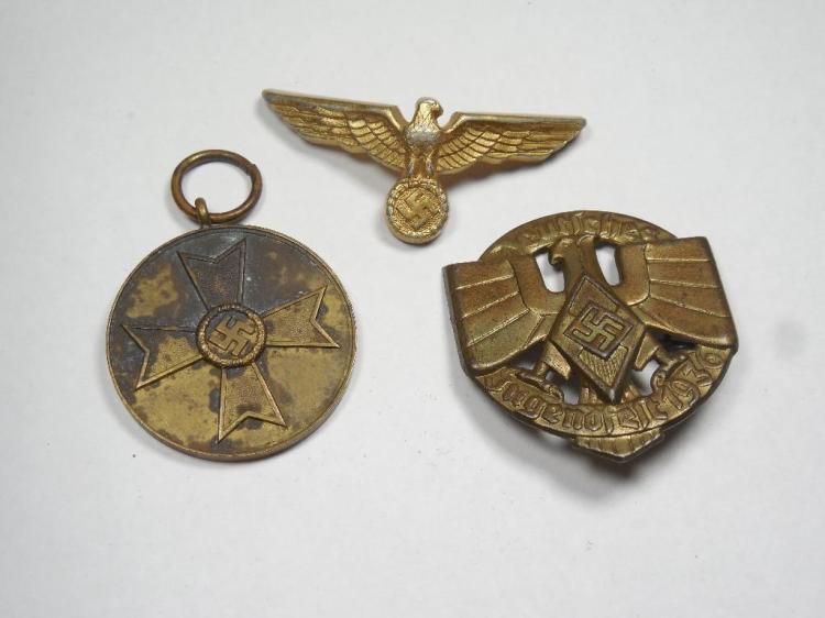 3 Nazi German Badges Inc. Political Leader, Medals