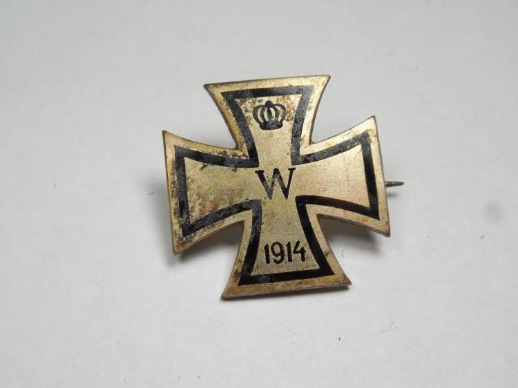 Unusual Silver Imperial German Iron Cross Pin 1914