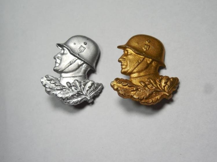 2 Unusual Nazi German Soldier Head Pins