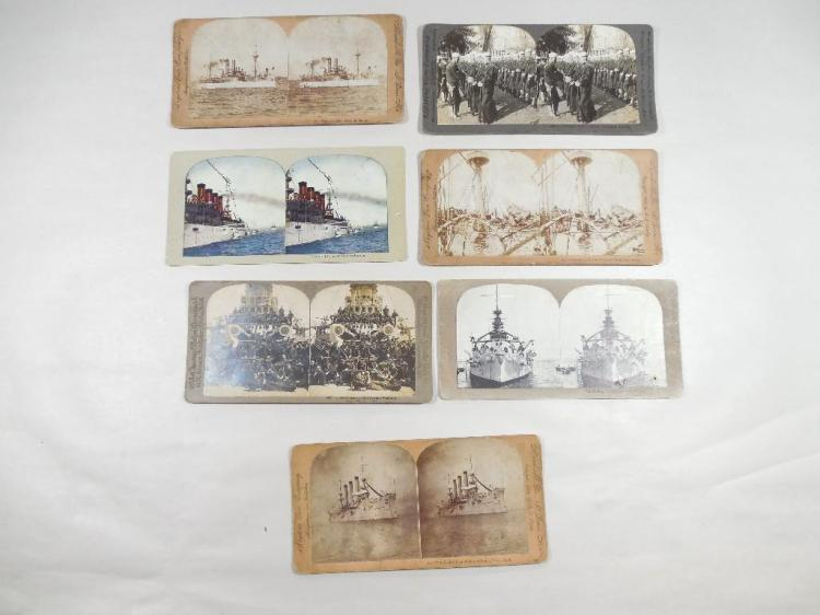 Group of 7 Navy Related Stereoview Card Photos