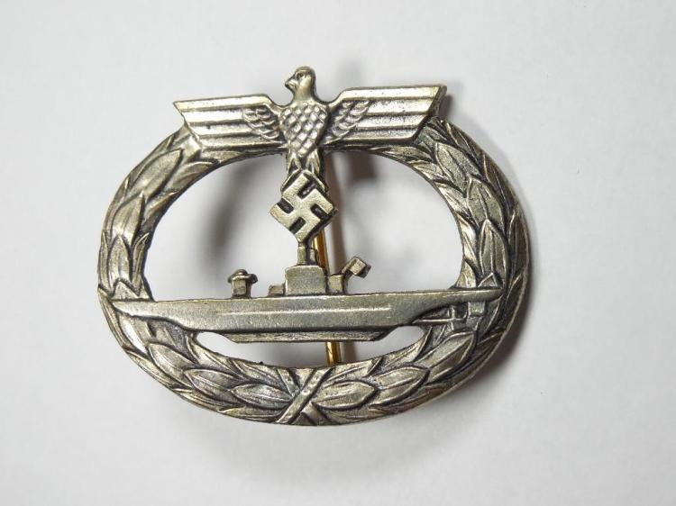 Ext Rare German WWII U-Boat Crew Badge w/Sub