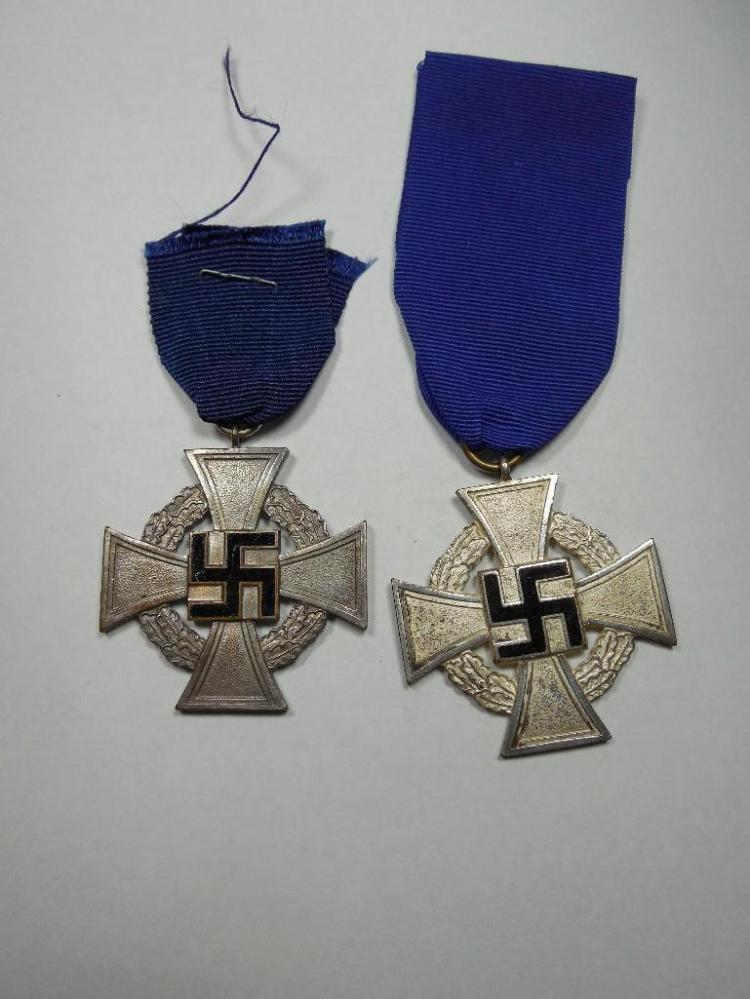 2 Nazi German Faithful Service Military Medals